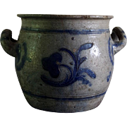 Blue Glazed French / German (Alsatian) 19th Century Fat Pot