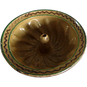 Old kugelhopf mold glazed pottery XVIIIth century Alsace
