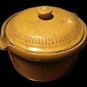 Yellow glazed circular pot 19th century French Alsatian culinary pottery