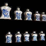 Vintage Delft porcelain 10 pieces canister spice set