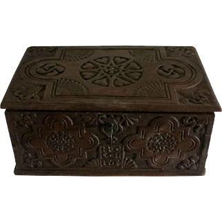 French authentic wood carved marriage chest treasure trunk dated 1754