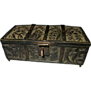 Bronze miniature jewel box medieval gothic style