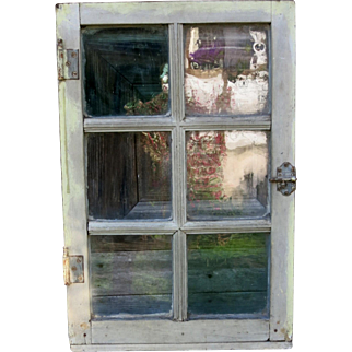 Old French wooden window all panes in bubbled glass circa 1880