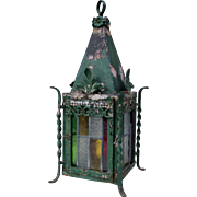 Vintage French stained glass pending lantern