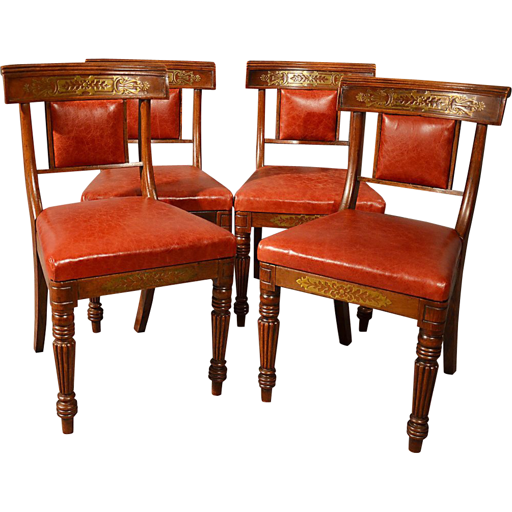 antique dining chairs leather seat quality english regency b