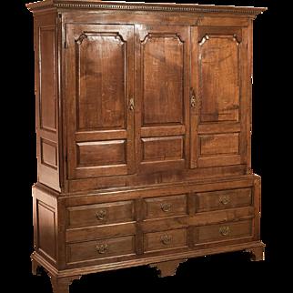Antique Wardrobe, Georgian Press Cupboard, English Oak Cabinet, Furniture C1800