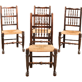 Set of 4 Victorian Spindle Back Chairs, Oak c.1900