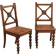 Antique Pair of Oak Hall Chairs, Late Victorian