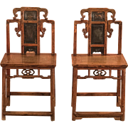 Antique Pair of Chinese Hall Chairs, c.1900
