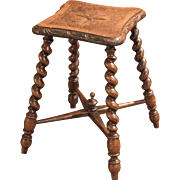 Victorian Turned Oak Stool, c.1880