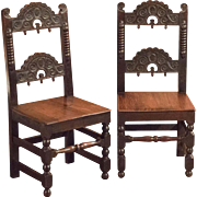 Victorian Pair of Oak Hall Chairs, c.1880