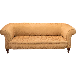 Victorian Sofa, Chesterfield in Golden Fabric c.1890