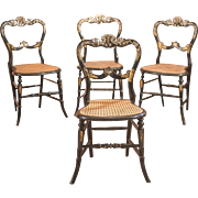 Victorian Set of Four Antique Dining Chairs, Lacquered
