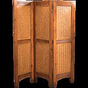 Mid-Century 3-Fold Screen, Split Bamboo & Maple