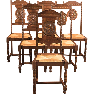 Edwardian Set of 6 Antique Dining Chairs, c.1910
