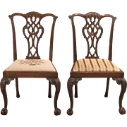 Pair of Antique Dining Chairs, Victorian after Chippendale