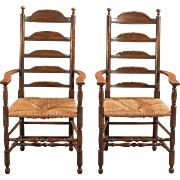Pair of Antique Elbow Chairs, Dining Ladderbacks c.1900