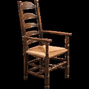 Antique Elbow Chair, Dining Ladderback c.1900