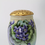 Violets and Satin Gold Muffineer Sugar Shaker Hand Painted Porcelain