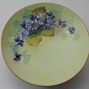 Violets Dessert Plate signed by Pickard Artist Seidel Hand Painted Thomas Sevres Bavarian Porcelain