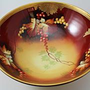 Autumn Currants Center Pedestal Bowl Pickard Studio Hand Painted Signed Nessy Tressemann & Vogt Limoges Porcelain
