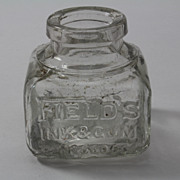 Old English Fields Ink Bottle Blown in Mold Square and Embossed