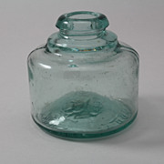 Old English Mabie Todd Swan Embossed Round Ink Bottle Blown in Mold Aqua Glass