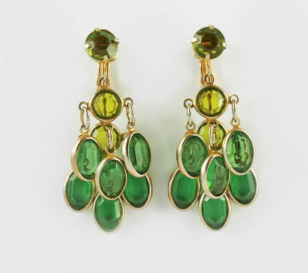 1960 S Chandelier Dangle Emerald Gl Earrings Silvery Moon Ruby Lane
