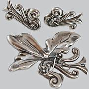 Art Nouveau Mexican Sterling Brooch Earrings c1920