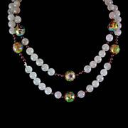 """Chinese Garnet Rose Quartz Cloisonne Bead 30"""" Necklace c1970"""