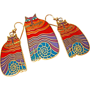 """Suite MINT Laurel Burch """"Rainbow Cat""""  Cloisonne 22K Gold Plate 12k Gold Filled French Wire Earring Brooch Pin c1983"""