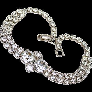 Art Deco White On White Rhinestone Silver Tone Bracelet c1930s