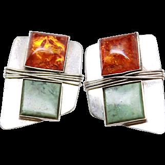 Modernist Asymmetric Aventurine Amber Resin Sterling Silver Post Earrings c1980s