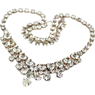 Art Deco White On White Rhinestone Rhodium Plate Necklace c1930s