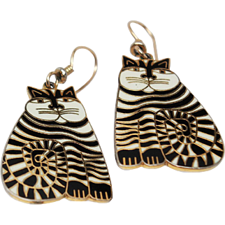 "Retired Laurel Burch Large 22K GP ""Shambala"" Cat with 12K GF French Wire Earrings c1983"