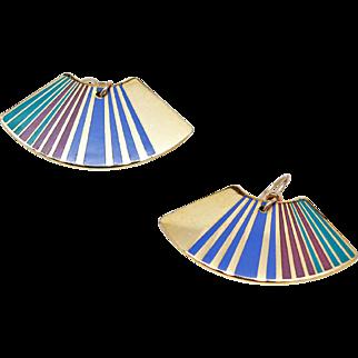 "Rare Early Laurel Burch Large 22K GP ""Rainbow"" Fan French Wire Earrings c1983"