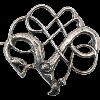 David Andersen SAGA Viking Reproduction Brooch Pin Sterling Silver c1960s