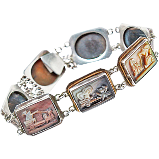 Victorian Mother Of Pearl  Cameo Panel Roman Days Of Week Bracelet 900 Silver 14K Accents c1860