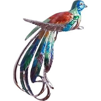 Large Enameled Sterling Silver Rhodium Plated Tropical Bird Brooch Pin Tango Aceves Mexico c1950s