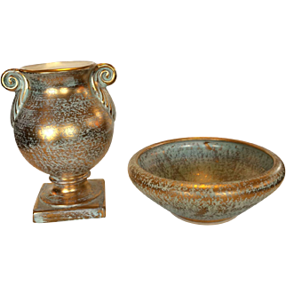 Stangl Pottery Gold Vase and Bowl