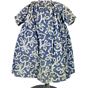 Wonderful Antique Indigo Cobalt Blue Cotton Doll Dress with Small Floral Print