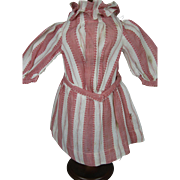 Antique German Doll Red White Striped Dress