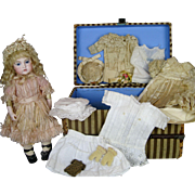 French Bisque Circle Dot Bru Jne Bebe Doll with Original Trousseau Wardrobe