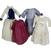 4 Antique Doll Dresses for French or German Dolls