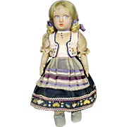 1930s Lenci Doll with Great Dress ~ Felt Appliques, Lucia Face