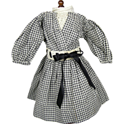 Antique German School Girl Doll Dress in Black and White Gingham
