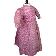 Antique Pink Patterned Doll Cotton Dress