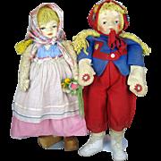 "Rare 25"" Large Georgene Averill Cloth Felt Dolls ~ Two Dolls"