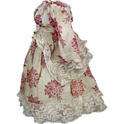 Antique French Fashion Doll Dress or Outfit for Small French Fashion Doll