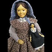 "1966 Frances Bringloe 6"" Carved Wooden Doll Set ~  inc.Tiny Peg Wood Doll"